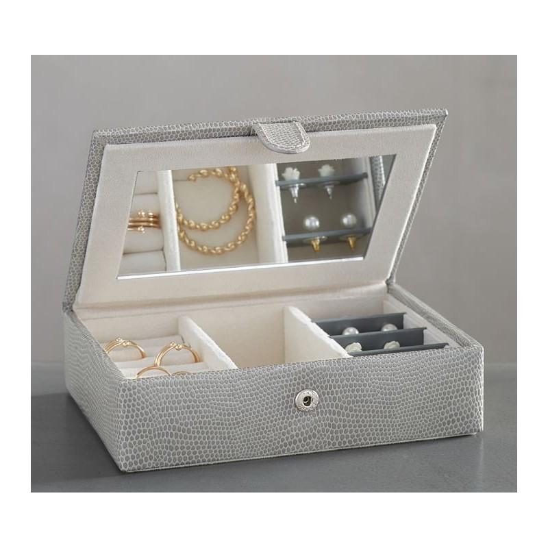 Pottery Barn Mckenna Leather Jewelry Box, Grey